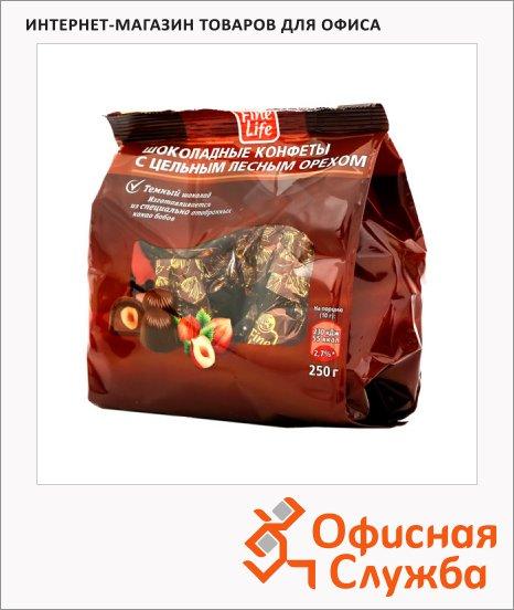 Конфеты Fine Life темный шоколад с цельным лесным орехом, 250г