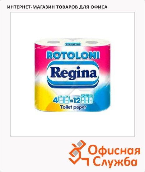 Туалетная бумага Regina Ротолони без аромата, белая, 2 слоя, 4 рулона, 472 листа, 52м