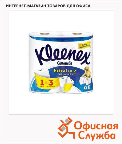 Туалетная бумага Kleenex Extra Long без аромата, белая, 2 слоя, 4 рулона, 171 лист, 19.5м