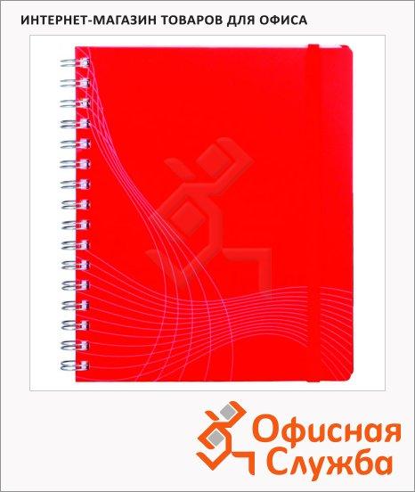 Блокнот Avery Zweckform Notizio Standard 7031, 90г/м2, 90 листов, А5, в линейку, сатин, на спирали, красный, 210x182мм
