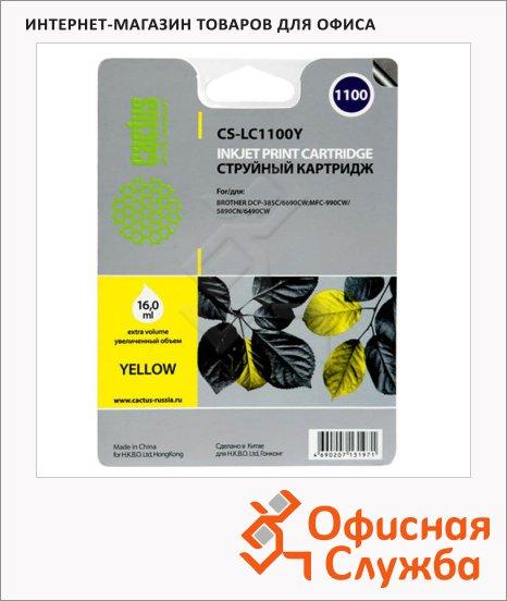 Картридж струйный Cactus CS-LC1100Y, 16мл, желтый