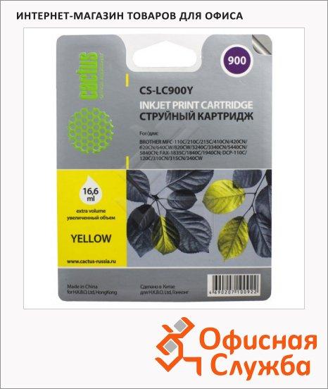 Картридж струйный Cactus CS-LC900Y, желтый, 16.6мл