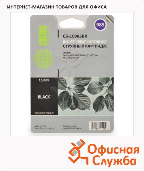 Картридж струйный Cactus CS-LC985BK, 15мл, черный