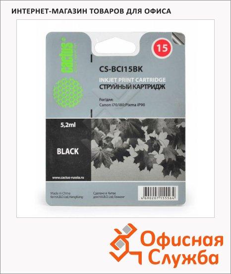 Картридж струйный Cactus CS-BCI15BK, черный, 5.2 мл