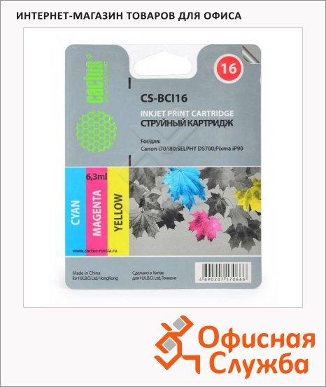 Картридж струйный Cactus CS-BCI16, 3 цвета, 6.3 мл
