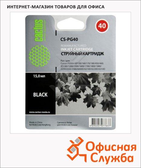 Картридж струйный Cactus CS-PG40, черный, 15 мл