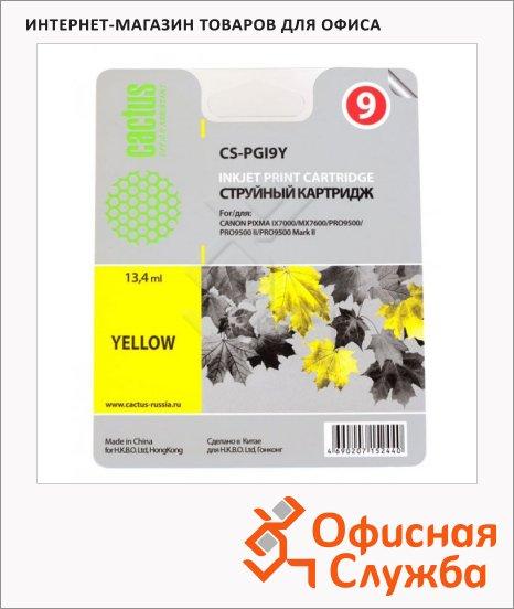 Картридж струйный Cactus CS-PGI9Y, желтый, 13.4 мл
