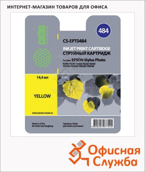 Картридж струйный Cactus CS-EPT0484, желтый, 14.4мл