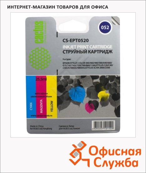 Картридж струйный Cactus CS-EPT0520, 3 цвета, 25.5мл