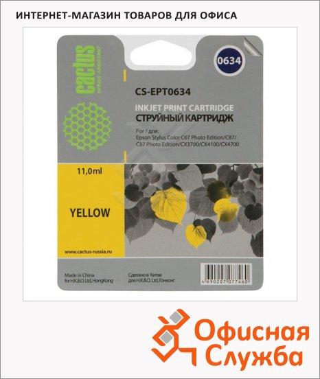 Картридж струйный Cactus CS-EPT0634, 10мл, желтый
