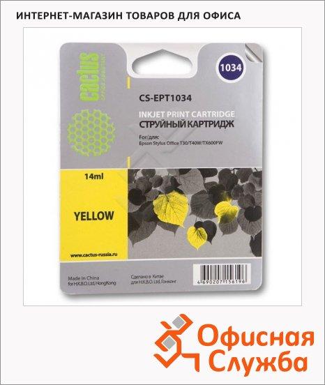 Картридж струйный Cactus CS-EPT1034, желтый, 14мл