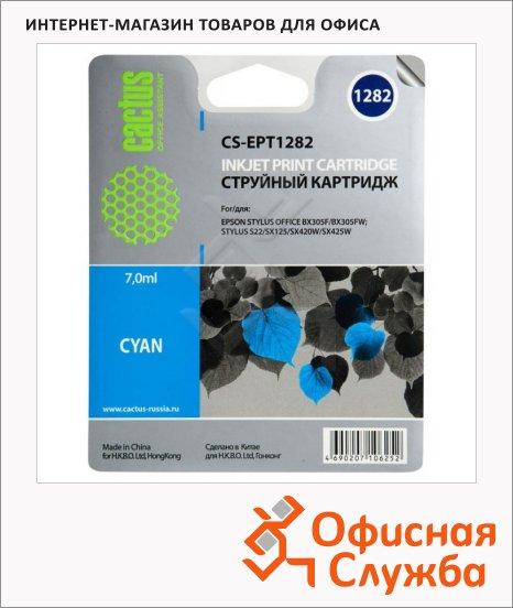 фото: Картридж струйный Cactus CS-EPT1282 голубой, 7мл