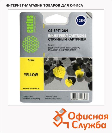 фото: Картридж струйный Cactus CS-EPT1284 желтый, 7мл