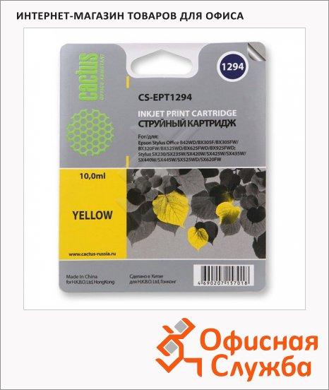 фото: Картридж струйный Cactus CS-EPT1294 желтый, 10мл