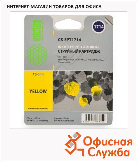фото: Картридж струйный Cactus CS-EPT1714 желтый, 10мл
