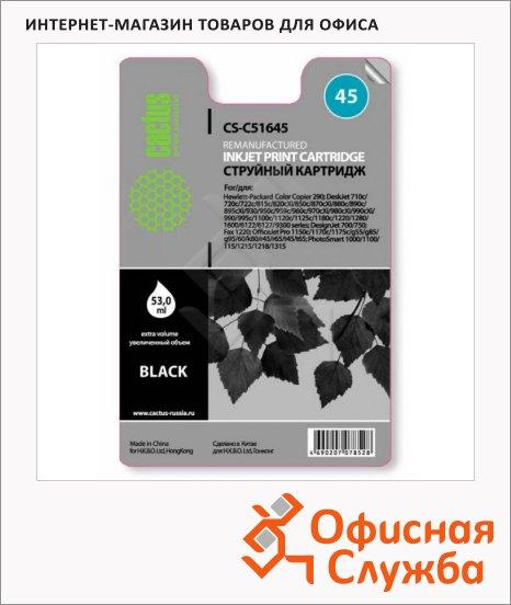 Картридж струйный Cactus CS-51645А №45, черный, 42 мл