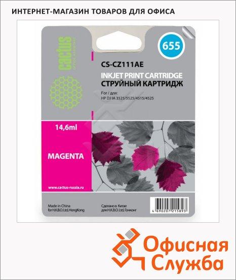фото: Картридж струйный Cactus CS-CZ111AE №655 6 мл, пурпурный