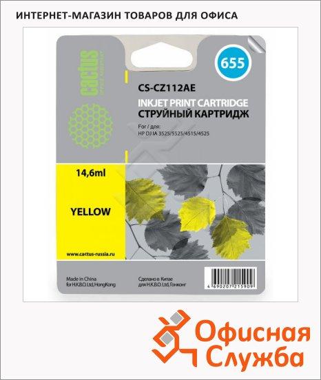 фото: Картридж струйный Cactus CS-CZ112AE №655 6 мл, желтый