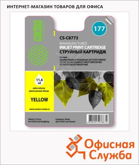 Картридж струйный Cactus CS-C8773HE №177, 11.4 мл, желтый