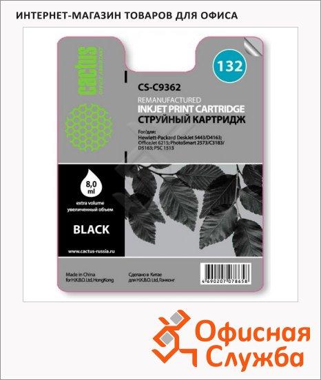 Картридж струйный Cactus CS-C9362 №132, черный, 7 мл