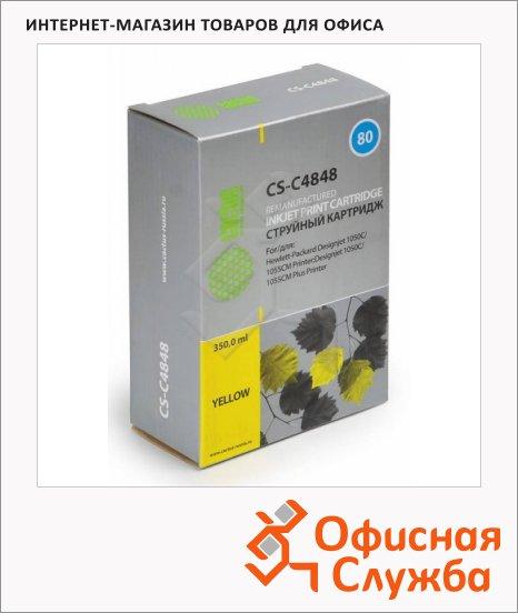 Картридж струйный Cactus CS-C4848А №80, 350 мл, желтый