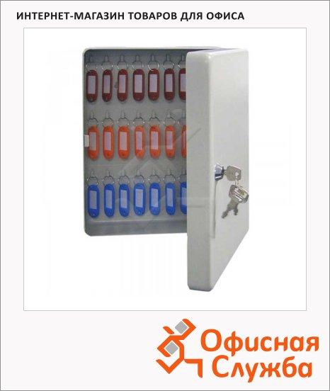 Шкафчик для ключей Промет KB-70 на 50 ключей, ключевой замок, с брелоками, 300х230х90мм