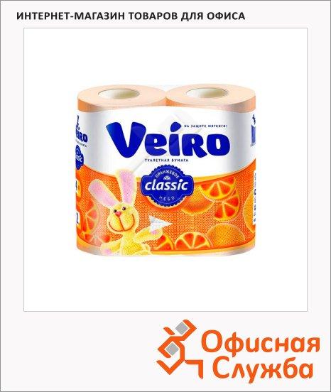 фото: Туалетная бумага Veiro Classic цитрус желтая, 2 слоя, 4 рулона, 140 листов, 17.5м