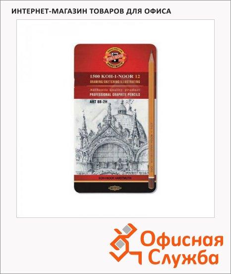 Набор чернографитных карандашей Koh-I-Noor 1500 Art 8B-2H, 12шт, металлический пенал
