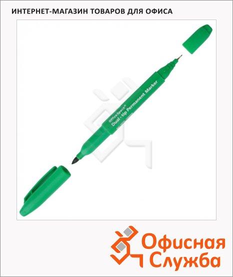 Маркер перманентный Office Space зеленый, 0.8-2мм, пулевидный наконечник, двухсторонний