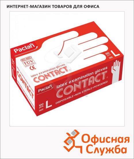 Перчатки латексные Paclan Contact р. L, телесные, 50 пар
