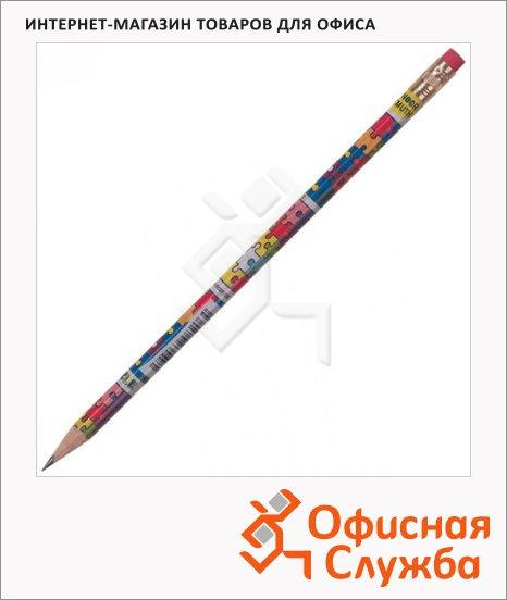 Карандаш чернографитный Koh-I-Noor Puzzle НВ, заточенный, с ластиком