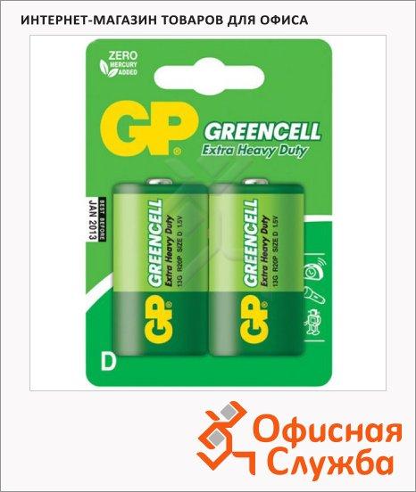 Батарейка Gp Greencell D/R20, 1.5В, солевые, 2шт/уп