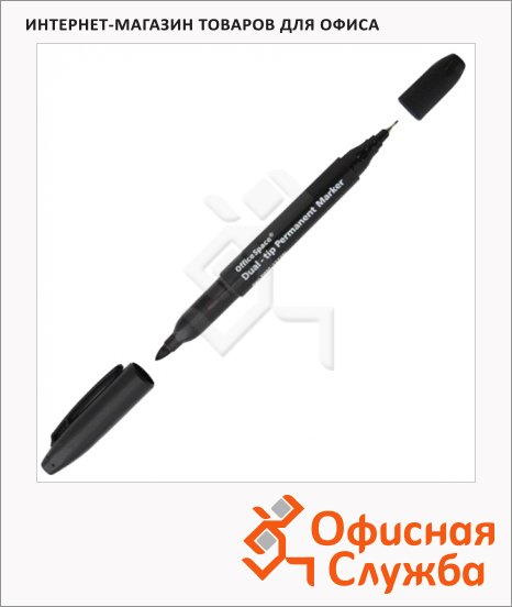 Маркер перманентный Office Space черный, 0.8-2мм, пулевидный наконечник, двухсторонний