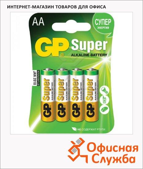 Батарейка Gp Super Alkaline AA/LR6, 1.5В, алкалиновые, 4шт/уп