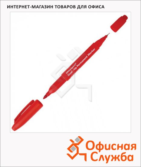 Маркер перманентный Office Space красный, 0.8-2мм, пулевидный наконечник, двухсторонний