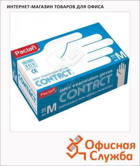 фото: Перчатки латексные Paclan Contact р. M телесные, 50 пар