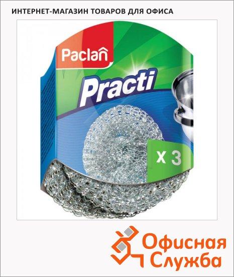 Губка для мытья посуды Paclan Practi металлическая, 3шт/уп