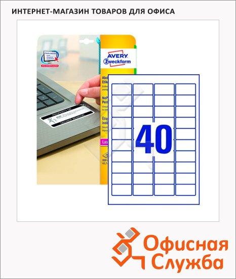 Этикетки высокостойкие Avery Zweckform L6145-20, белые, 45.7x25.4мм, 40шт на листе А4, 20 листов, 800шт, для лазерной печати