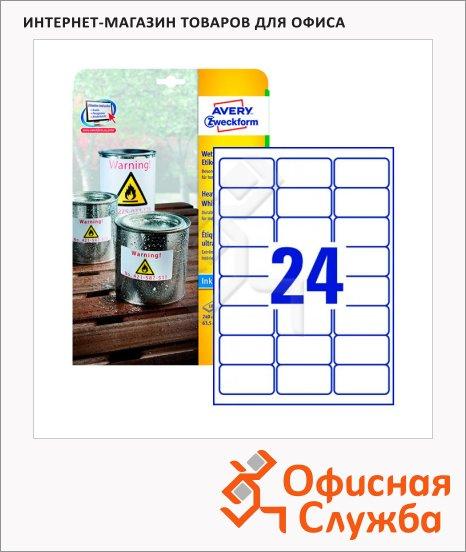 Этикетки высокопрочные Avery Zweckform J4773-10, белые, 63.5х33.9мм, 24шт на листе А4, 10 листов, 240шт, для струйной печати