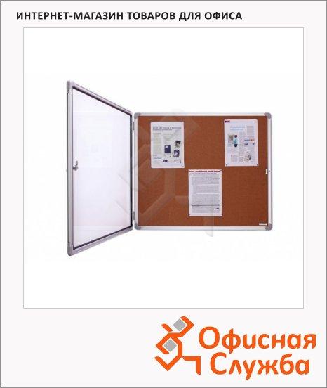 фото: Доска-витрина Magnetoplan SP 1215324 112х108.5см коричневая, пробковая, алюминиевая рама, интерьерная