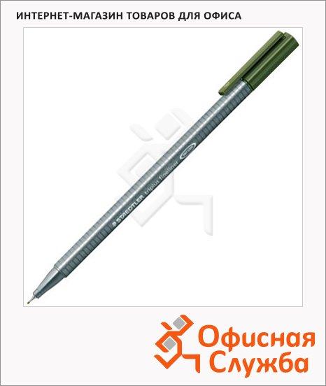 Ручка капиллярная Staedtler Triplus Fineliner 334, 0,3мм, зеленый оливковый