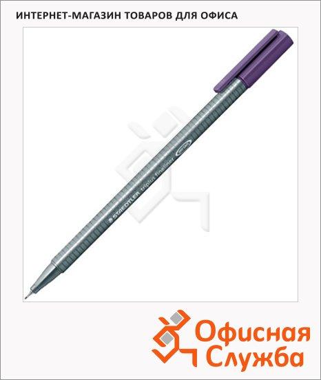 фото: Ручка капиллярная Staedtler Triplus Fineliner 334 темная мальва 0.3мм, серебристый корпус