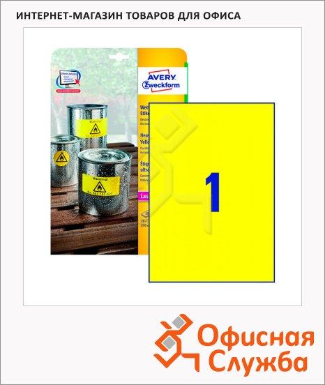 Этикетки всепогодные Avery Zweckform L6111-20, желтые, 210х297мм, 1шт на листе А4, 20 листов, 20шт, для копир/ лазерной печати