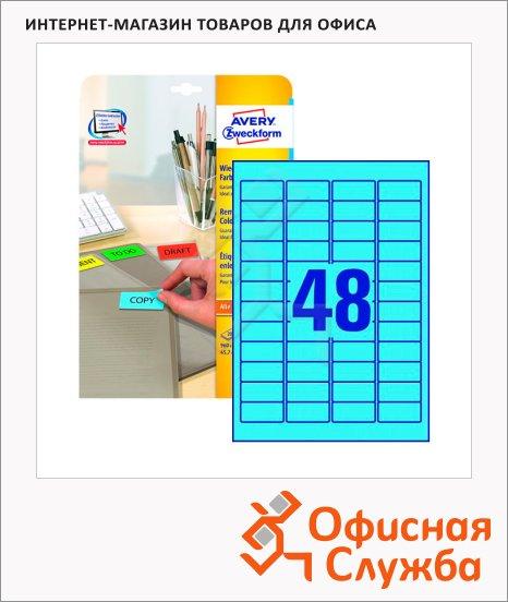 Этикетки удаляемые Avery Zweckform L6039-20, 48шт на листе А4, 20 листов, 960шт, для всех видов печати, голубые, 45.7x21.2мм