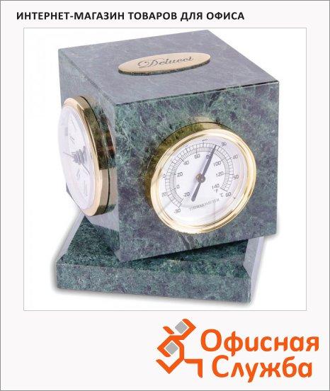Настольные часы Delucci зеленый мрамор, с термометром и гигрометром