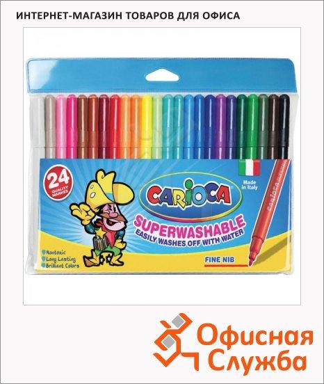 фото: Фломастеры для рисования Carioca Joy 24 цвета смываемые, пластиковая упаковка