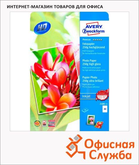 Фотобумага для струйных принтеров Avery Zweckform Quick&Clean А3, 10 листов, 297x420мм, 250г/м2, белая суперглянцевая, 2480-10