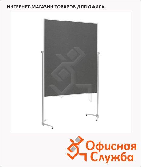 фото: Стенд мобильный Magnetoplan 120х150см серый, текстильный