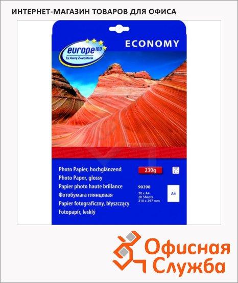 Фотобумага для струйных принтеров Avery Zweckform Европа-100 А4, 230г/м2, белая глянцевая, 20 листов, 210х297мм, 90398