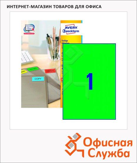 фото: Этикетки самоклеящиеся Avery Zweckform 3472 1шт на листе А4, 100 листов, зеленые, 210x297мм